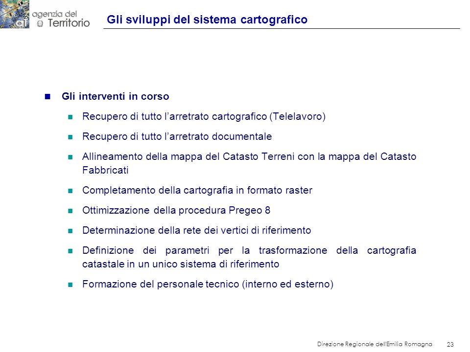 23 Direzione Regionale dell'Emilia Romagna 23 n Gli interventi in corso n Recupero di tutto larretrato cartografico (Telelavoro) n Recupero di tutto l