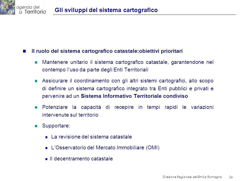 24 Direzione Regionale dell'Emilia Romagna 24 n Il ruolo del sistema cartografico catastale:obiettivi prioritari n Mantenere unitario il sistema carto