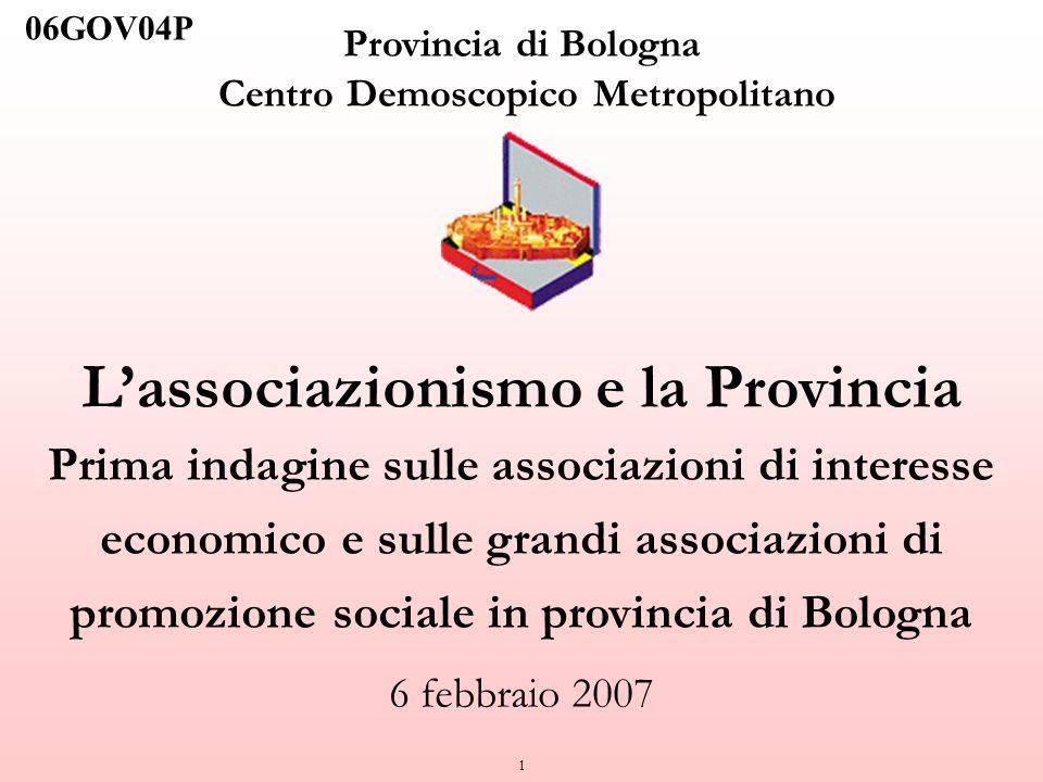 1 Provincia di Bologna Centro Demoscopico Metropolitano Lassociazionismo e la Provincia Prima indagine sulle associazioni di interesse economico e sul