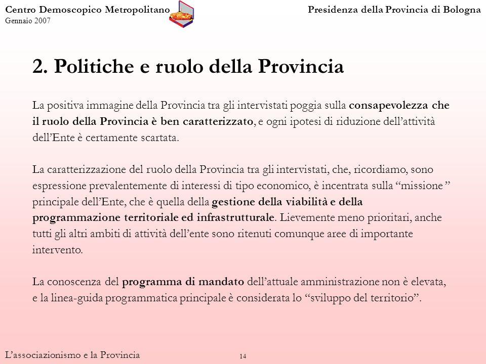 14 2. Politiche e ruolo della Provincia La positiva immagine della Provincia tra gli intervistati poggia sulla consapevolezza che il ruolo della Provi