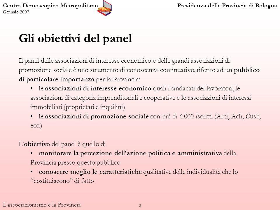 3 Gli obiettivi del panel Il panel delle associazioni di interesse economico e delle grandi associazioni di promozione sociale è uno strumento di cono