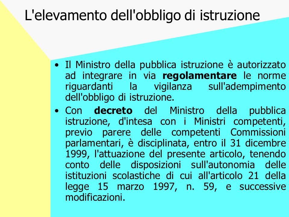 L elevamento dell obbligo di istruzione Il Ministro della pubblica istruzione è autorizzato ad integrare in via regolamentare le norme riguardanti la vigilanza sull adempimento dell obbligo di istruzione.