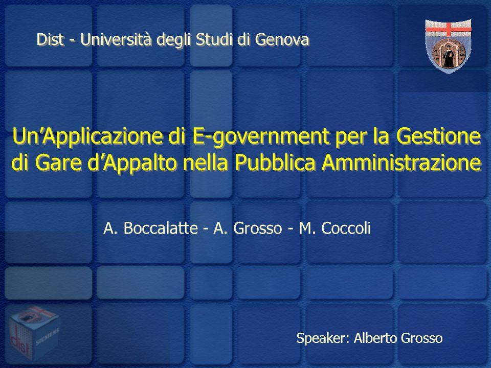 Dist - Università degli Studi di Genova UnApplicazione di E-government per la Gestione di Gare dAppalto nella Pubblica Amministrazione A.