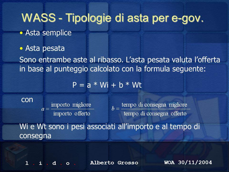 l. i. d. o. Alberto Grosso WOA 30/11/2004 WASS - Tipologie di asta per e-gov.