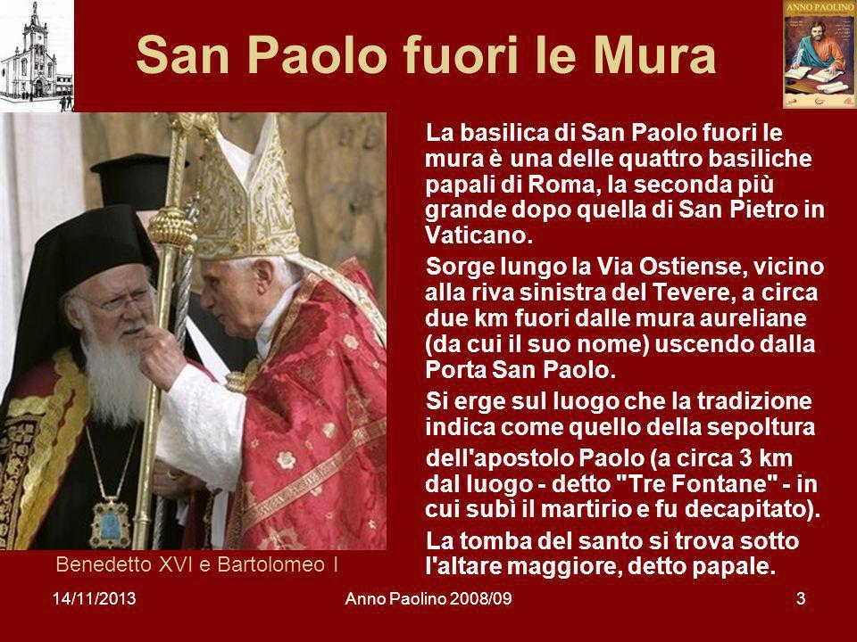 14/11/2013Anno Paolino 2008/0914 Esortazione a Timoteo dalla prigione «Soffri anche tu insieme con me per il Vangelo» (2Tm 1,8).