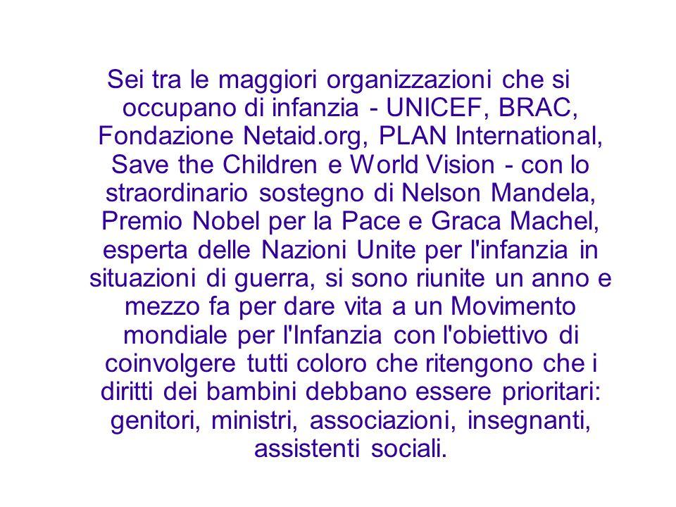 Sei tra le maggiori organizzazioni che si occupano di infanzia - UNICEF, BRAC, Fondazione Netaid.org, PLAN International, Save the Children e World Vi