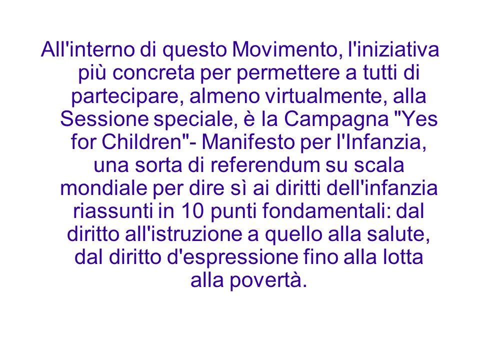 All'interno di questo Movimento, l'iniziativa più concreta per permettere a tutti di partecipare, almeno virtualmente, alla Sessione speciale, è la Ca