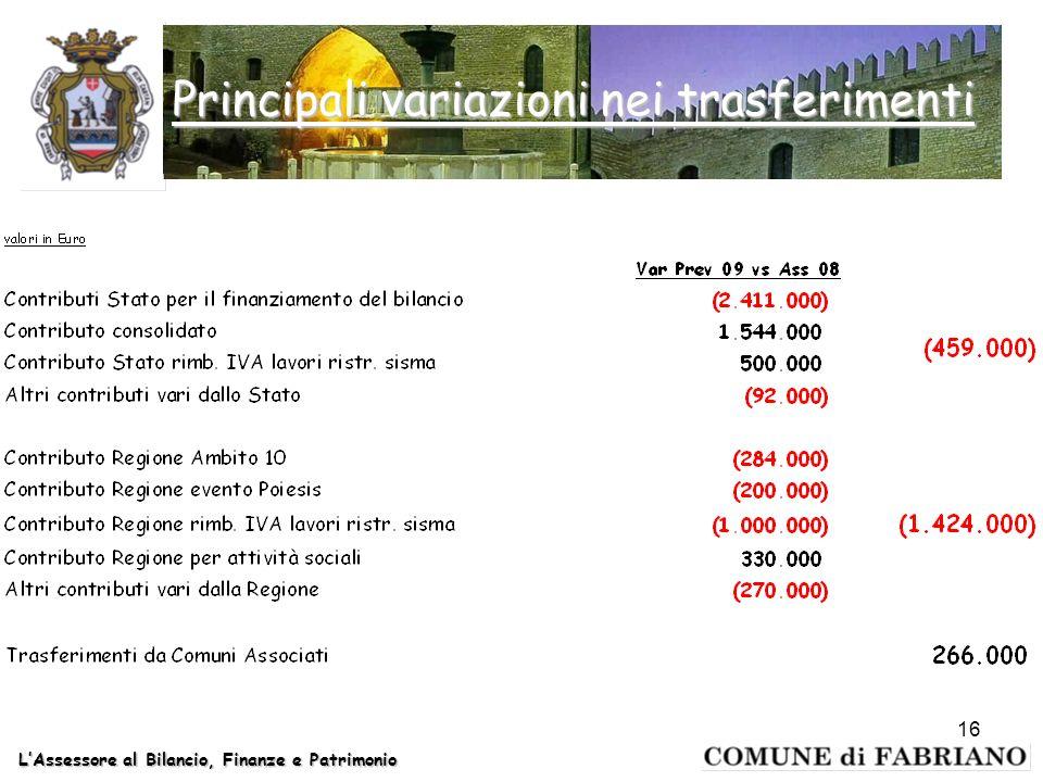 LAssessore al Bilancio, Finanze e Patrimonio Principali variazioni nei trasferimenti 16