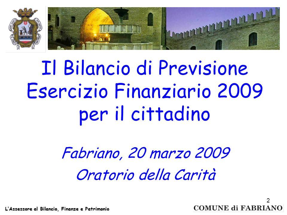 Il Bilancio di Previsione Esercizio Finanziario 2009 per il cittadino Fabriano, 20 marzo 2009 Oratorio della Carità LAssessore al Bilancio, Finanze e Patrimonio 2