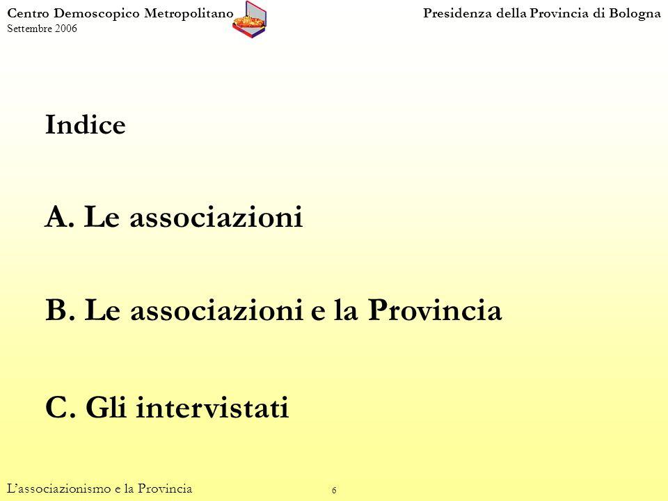 17 Centro Demoscopico MetropolitanoPresidenza della Provincia di Bologna Settembre 2006 Livello di attività (percentuali di colonna) Lassociazionismo e la Provincia Attività, valori e organizzazione (dom.