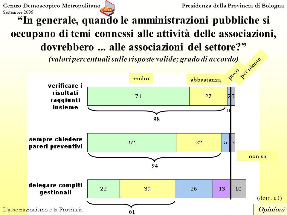 81 In generale, quando le amministrazioni pubbliche si occupano di temi connessi alle attività delle associazioni, dovrebbero...