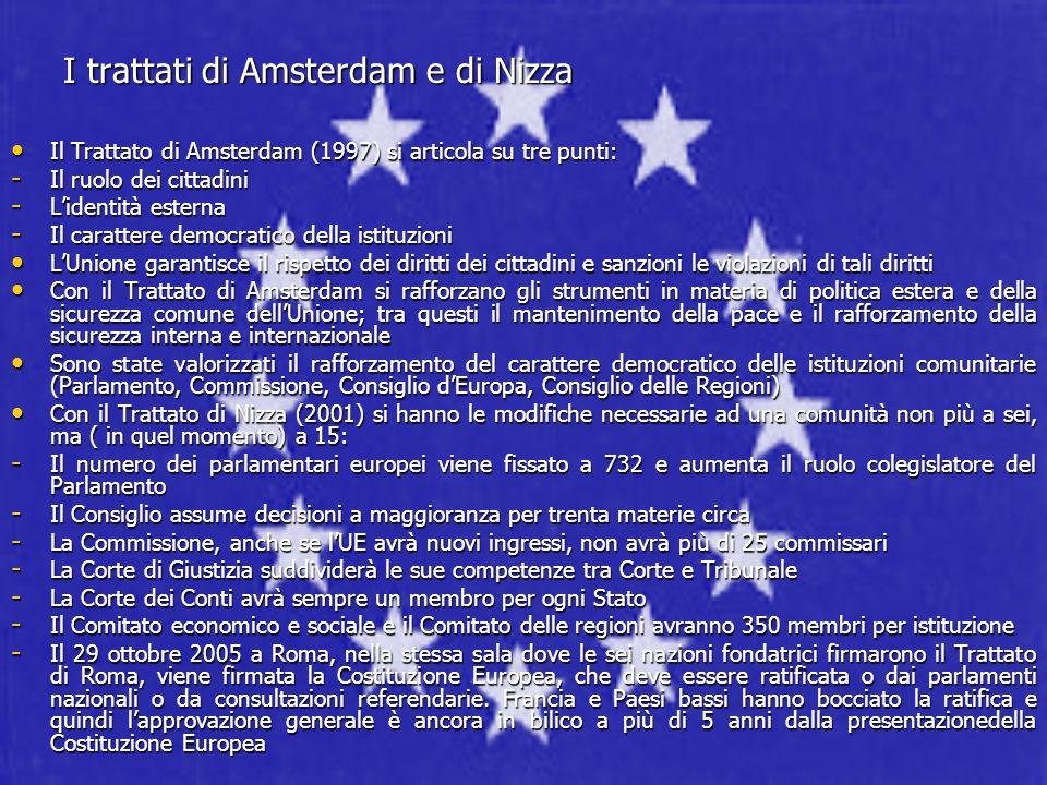 I trattati di Amsterdam e di Nizza Il Trattato di Amsterdam (1997) si articola su tre punti: Il Trattato di Amsterdam (1997) si articola su tre punti: