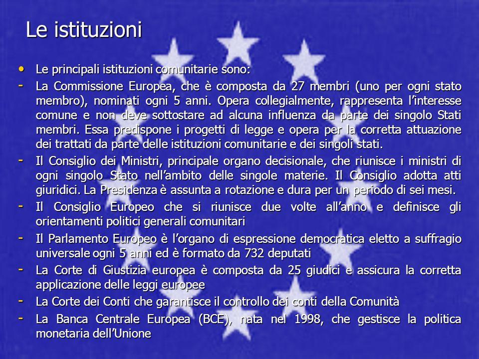 Le istituzioni Le principali istituzioni comunitarie sono: Le principali istituzioni comunitarie sono: - La Commissione Europea, che è composta da 27