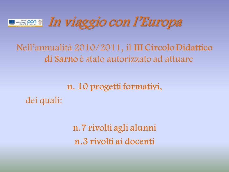 In viaggio con lEuropa Nellannualità 2010/2011, il III Circolo Didattico di Sarno è stato autorizzato ad attuare n.
