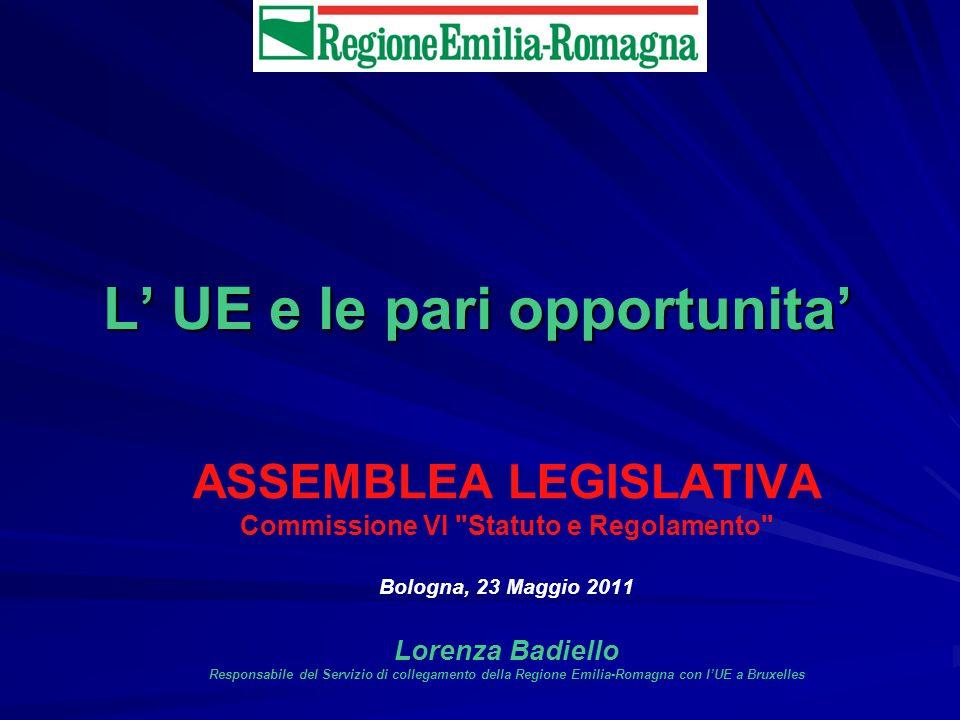 L UE e le pari opportunita ASSEMBLEA LEGISLATIVA Commissione VI Statuto e Regolamento Bologna, 23 Maggio 2011 Lorenza Badiello Responsabile del Servizio di collegamento della Regione Emilia-Romagna con lUE a Bruxelles
