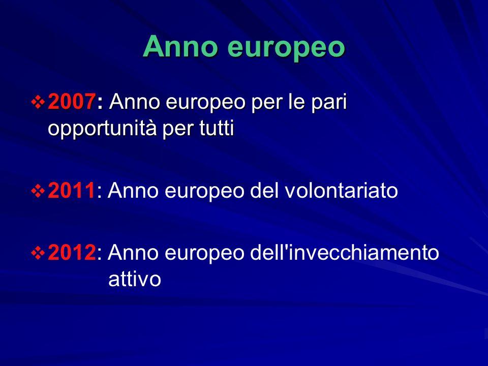 Anno europeo 2007: Anno europeo per le pari opportunità per tutti 2007: Anno europeo per le pari opportunità per tutti 2011: Anno europeo del volontariato 2012: Anno europeo dell invecchiamento attivo
