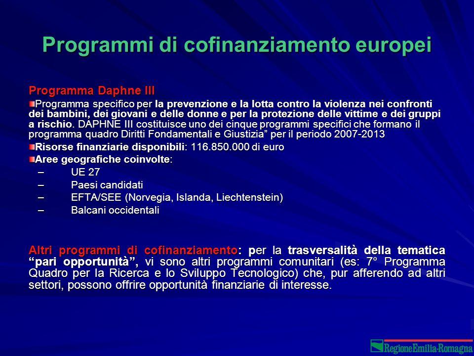 Programmi di cofinanziamento europei Programma Daphne III Programma specifico per la prevenzione e la lotta contro la violenza nei confronti dei bambini, dei giovani e delle donne e per la protezione delle vittime e dei gruppi a rischio.