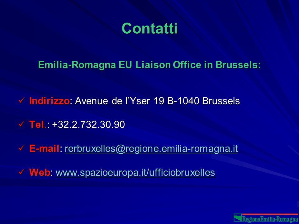 Contatti Emilia-Romagna EU Liaison Office in Brussels: Indirizzo: Avenue de lYser 19 B-1040 Brussels Indirizzo: Avenue de lYser 19 B-1040 Brussels Tel.: +32.2.732.30.90 Tel.: +32.2.732.30.90 E-mail: rerbruxelles@regione.emilia-romagna.it E-mail: rerbruxelles@regione.emilia-romagna.itrerbruxelles@regione.emilia-romagna.it Web: www.spazioeuropa.it/ufficiobruxelles Web: www.spazioeuropa.it/ufficiobruxelleswww.spazioeuropa.it/ufficiobruxelles