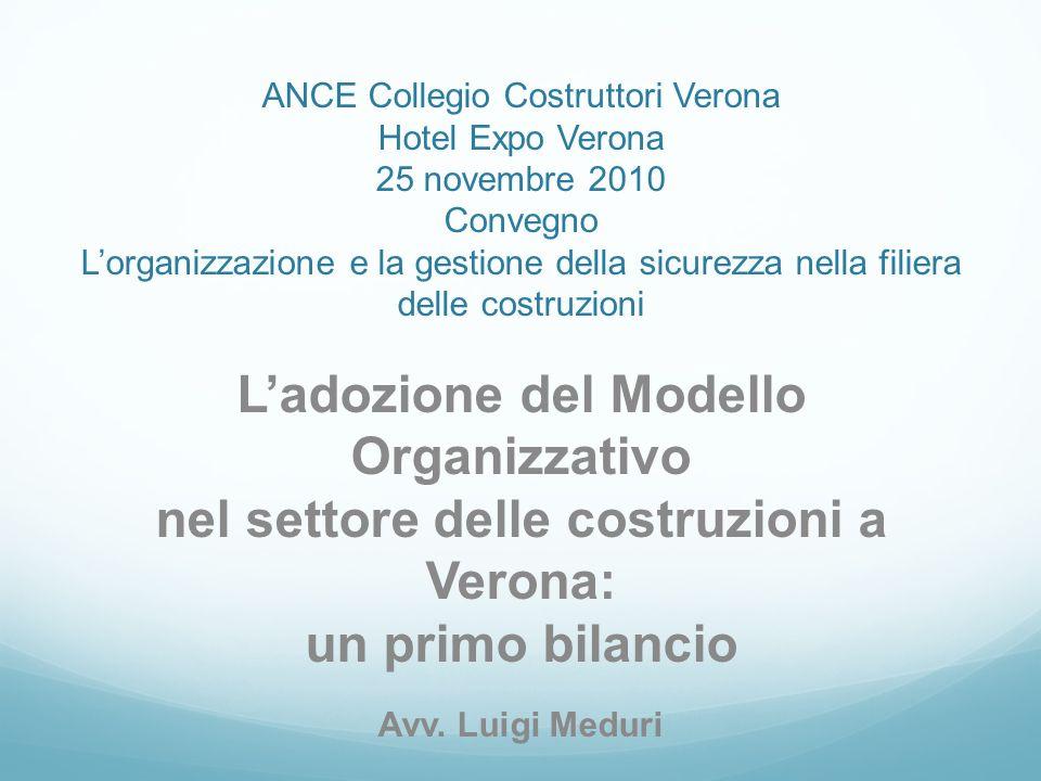 ANCE Collegio Costruttori Verona Hotel Expo Verona 25 novembre 2010 Convegno Lorganizzazione e la gestione della sicurezza nella filiera delle costruzioni Ladozione del Modello Organizzativo nel settore delle costruzioni a Verona: un primo bilancio Avv.