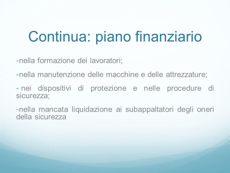 Continua: piano finanziario - nella formazione dei lavoratori; - nella manutenzione delle macchine e delle attrezzature; - nei dispositivi di protezio