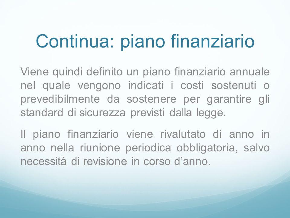 Continua: piano finanziario Viene quindi definito un piano finanziario annuale nel quale vengono indicati i costi sostenuti o prevedibilmente da sostenere per garantire gli standard di sicurezza previsti dalla legge.