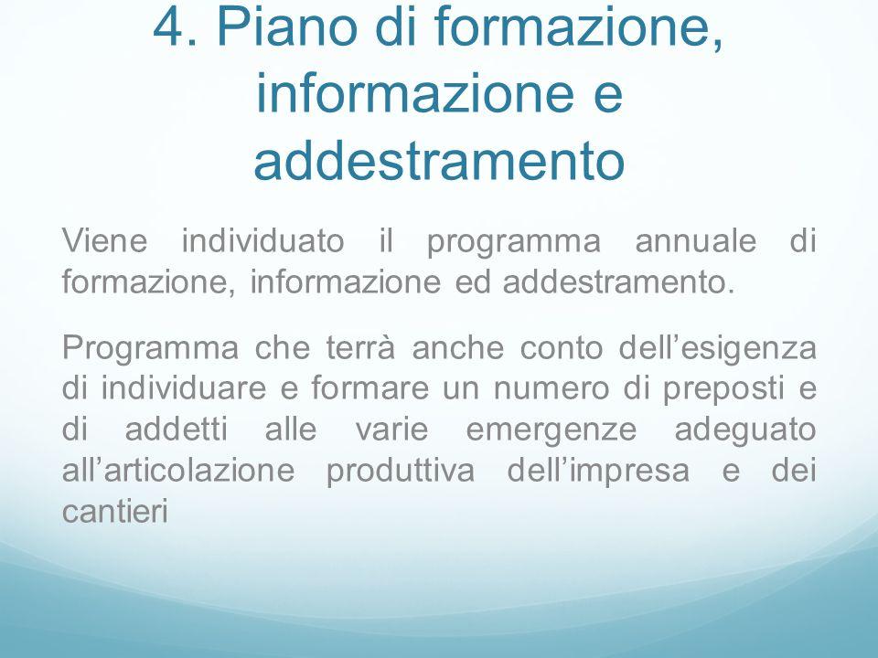 4. Piano di formazione, informazione e addestramento Viene individuato il programma annuale di formazione, informazione ed addestramento. Programma ch