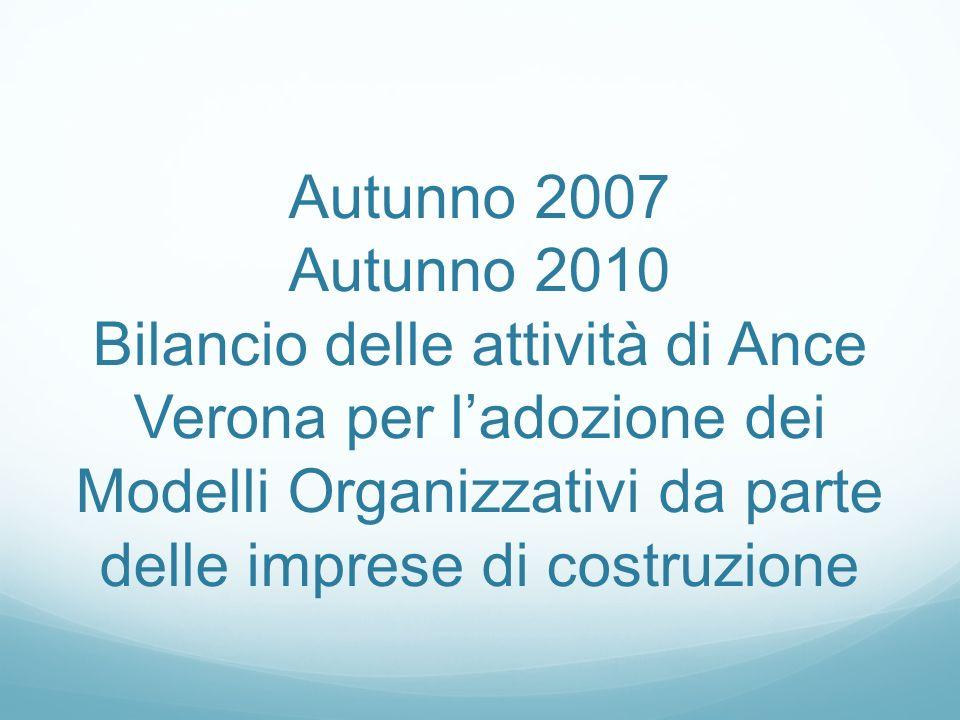 Autunno 2007 Autunno 2010 Bilancio delle attività di Ance Verona per ladozione dei Modelli Organizzativi da parte delle imprese di costruzione