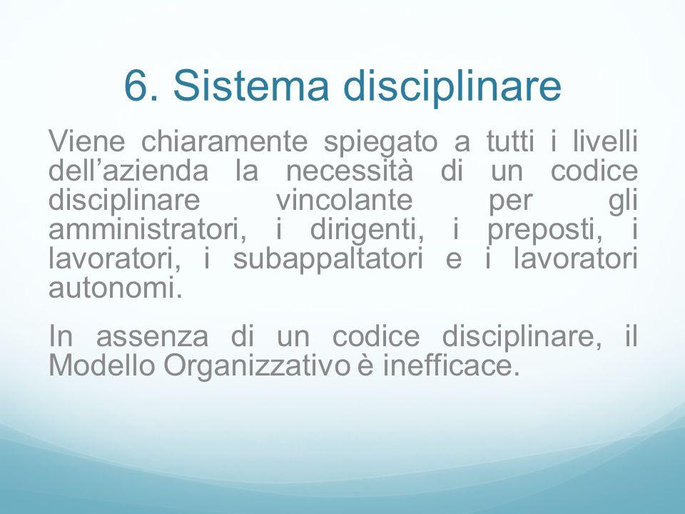 6. Sistema disciplinare Viene chiaramente spiegato a tutti i livelli dellazienda la necessità di un codice disciplinare vincolante per gli amministrat