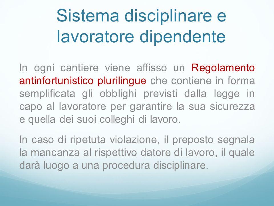 Sistema disciplinare e lavoratore dipendente In ogni cantiere viene affisso un Regolamento antinfortunistico plurilingue che contiene in forma semplif