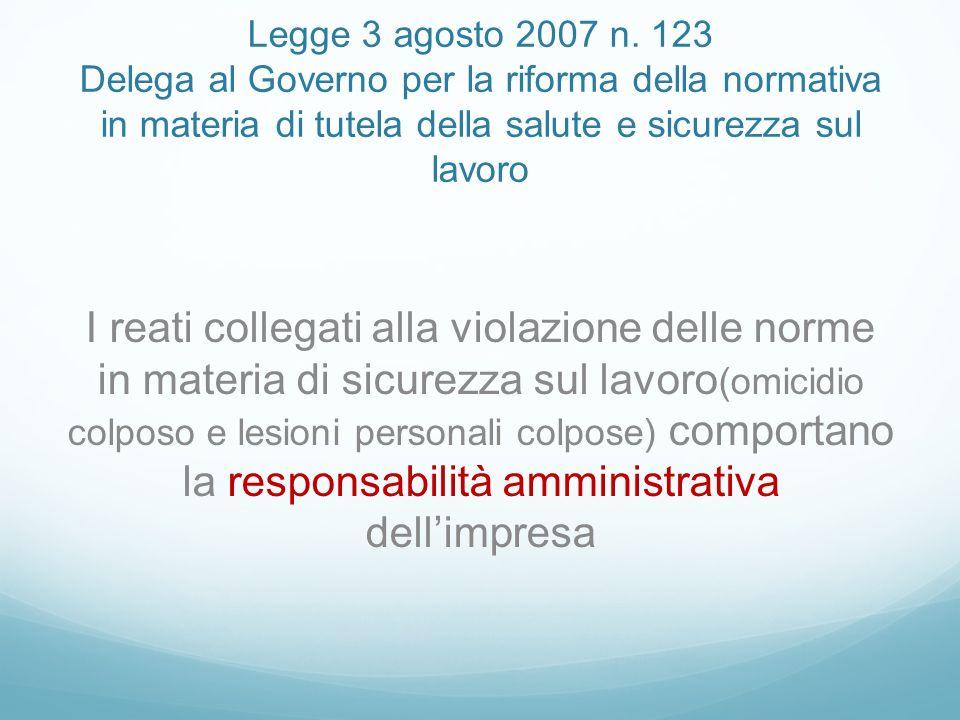 Legge 3 agosto 2007 n. 123 Delega al Governo per la riforma della normativa in materia di tutela della salute e sicurezza sul lavoro I reati collegati