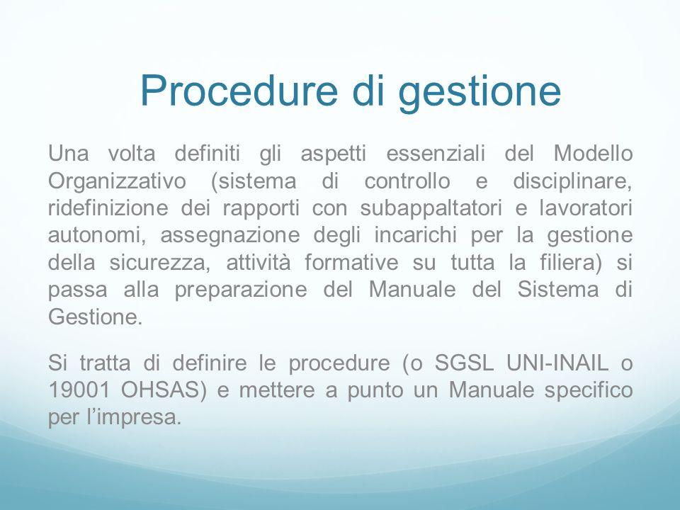 Procedure di gestione Una volta definiti gli aspetti essenziali del Modello Organizzativo (sistema di controllo e disciplinare, ridefinizione dei rapp