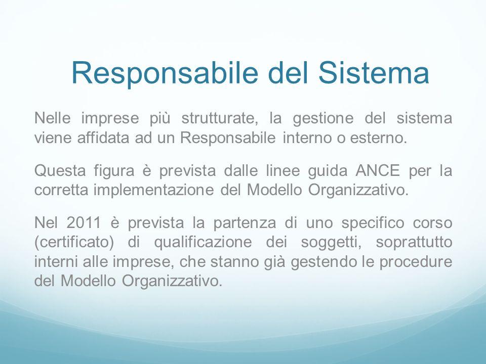Responsabile del Sistema Nelle imprese più strutturate, la gestione del sistema viene affidata ad un Responsabile interno o esterno.