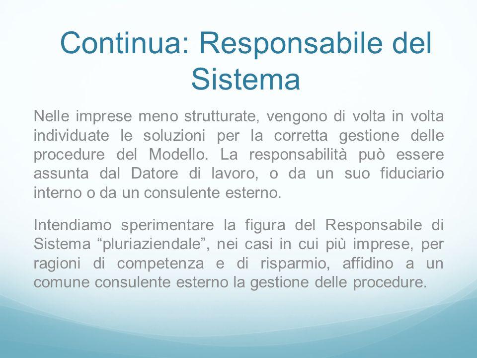 Continua: Responsabile del Sistema Nelle imprese meno strutturate, vengono di volta in volta individuate le soluzioni per la corretta gestione delle procedure del Modello.