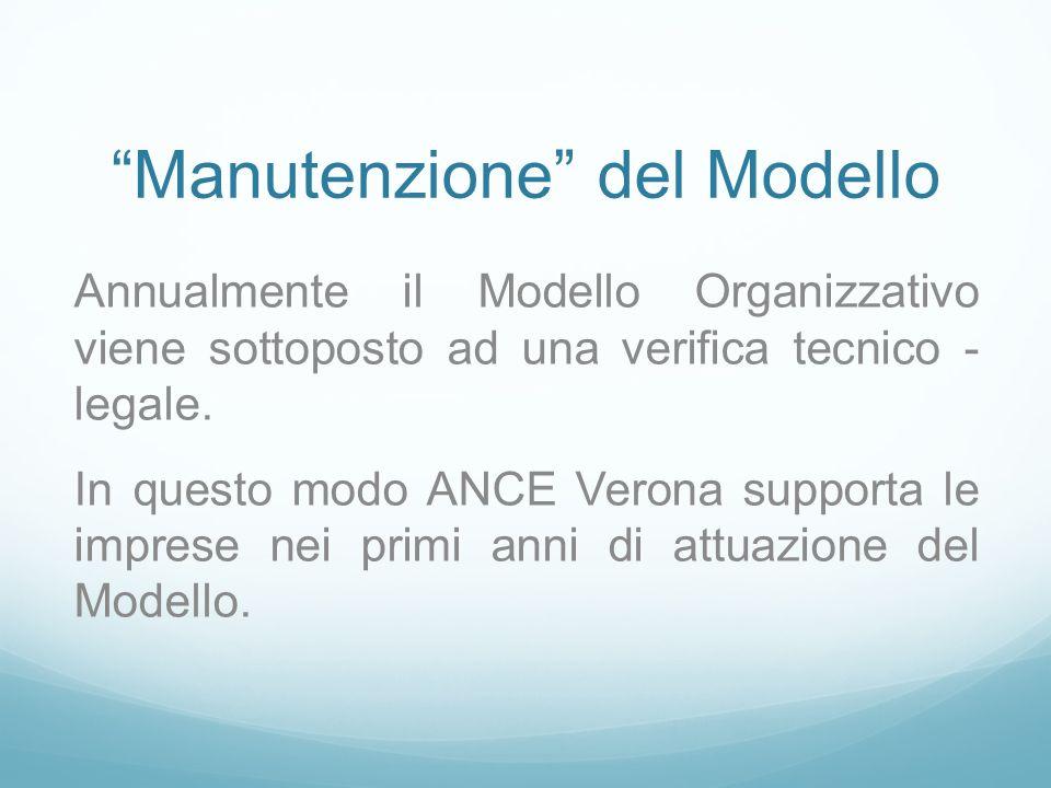 Manutenzione del Modello Annualmente il Modello Organizzativo viene sottoposto ad una verifica tecnico - legale. In questo modo ANCE Verona supporta l