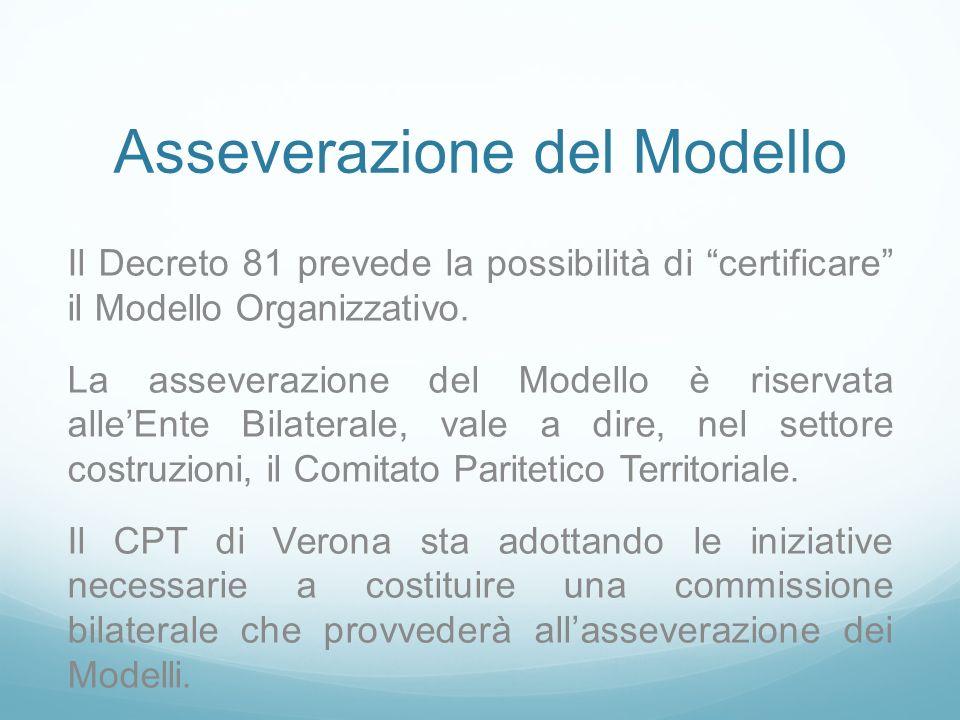 Asseverazione del Modello Il Decreto 81 prevede la possibilità di certificare il Modello Organizzativo. La asseverazione del Modello è riservata alleE