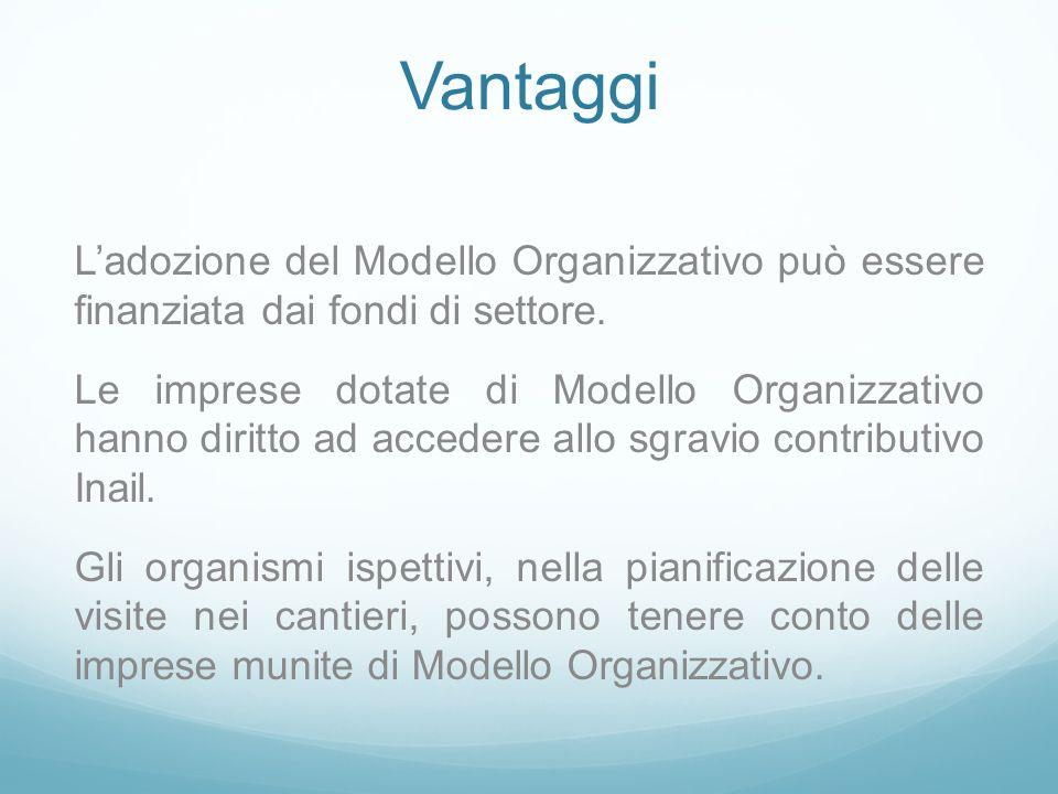Vantaggi Ladozione del Modello Organizzativo può essere finanziata dai fondi di settore. Le imprese dotate di Modello Organizzativo hanno diritto ad a