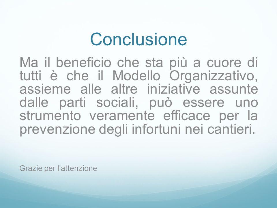 Conclusione Ma il beneficio che sta più a cuore di tutti è che il Modello Organizzativo, assieme alle altre iniziative assunte dalle parti sociali, può essere uno strumento veramente efficace per la prevenzione degli infortuni nei cantieri.