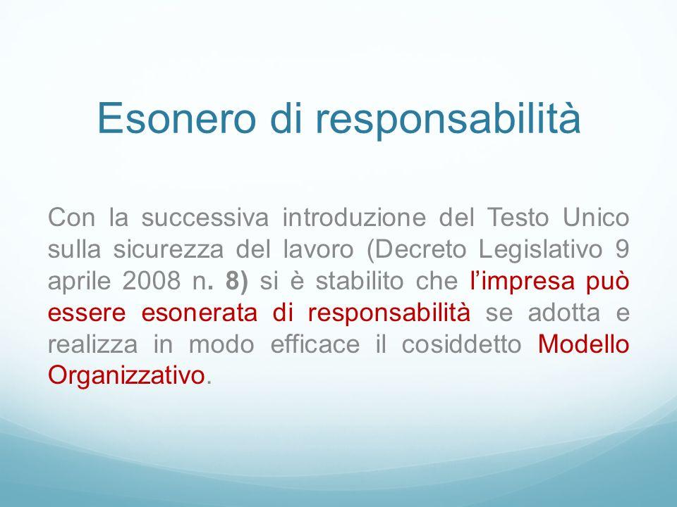Esonero di responsabilità Con la successiva introduzione del Testo Unico sulla sicurezza del lavoro (Decreto Legislativo 9 aprile 2008 n. 8) si è stab