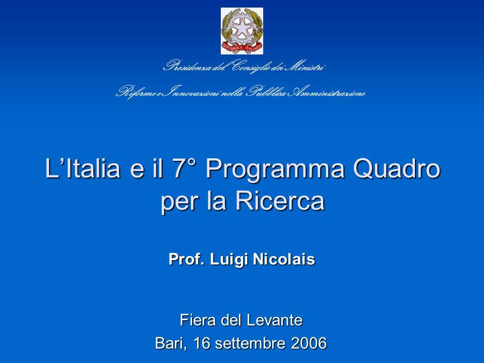 LItalia e il 7° Programma Quadro per la Ricerca Fiera del Levante Bari, 16 settembre 2006 Presidenza del Consiglio dei Ministri Riforme e Innovazioni