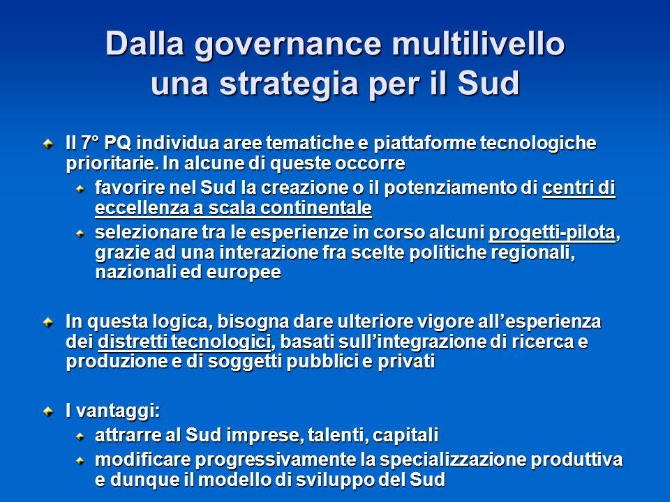 Dalla governance multilivello una strategia per il Sud Il 7° PQ individua aree tematiche e piattaforme tecnologiche prioritarie.