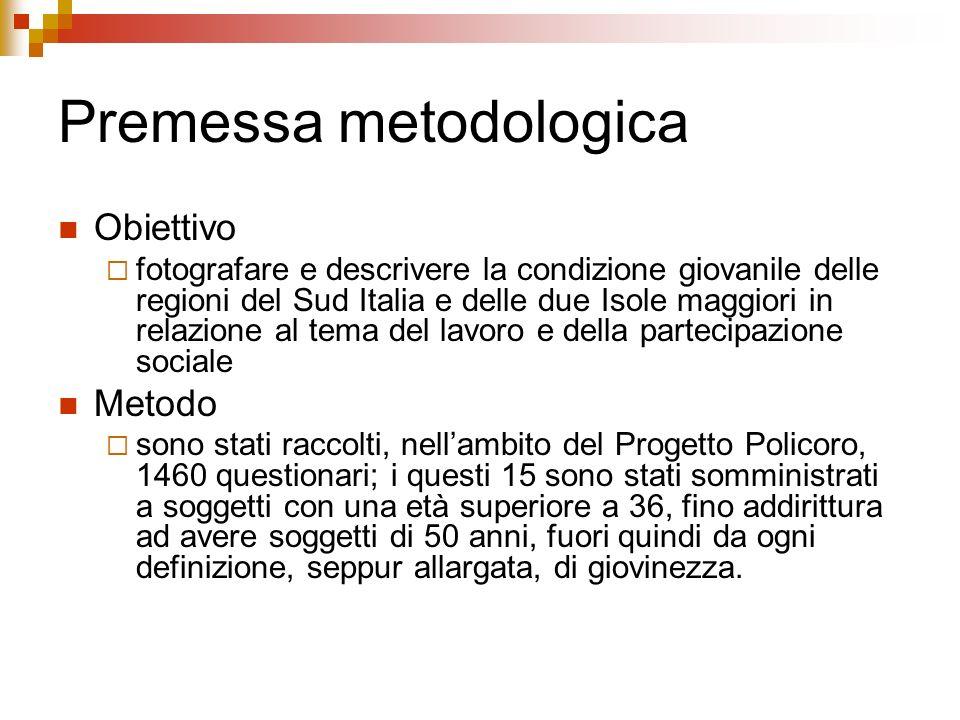 Premessa metodologica Obiettivo fotografare e descrivere la condizione giovanile delle regioni del Sud Italia e delle due Isole maggiori in relazione