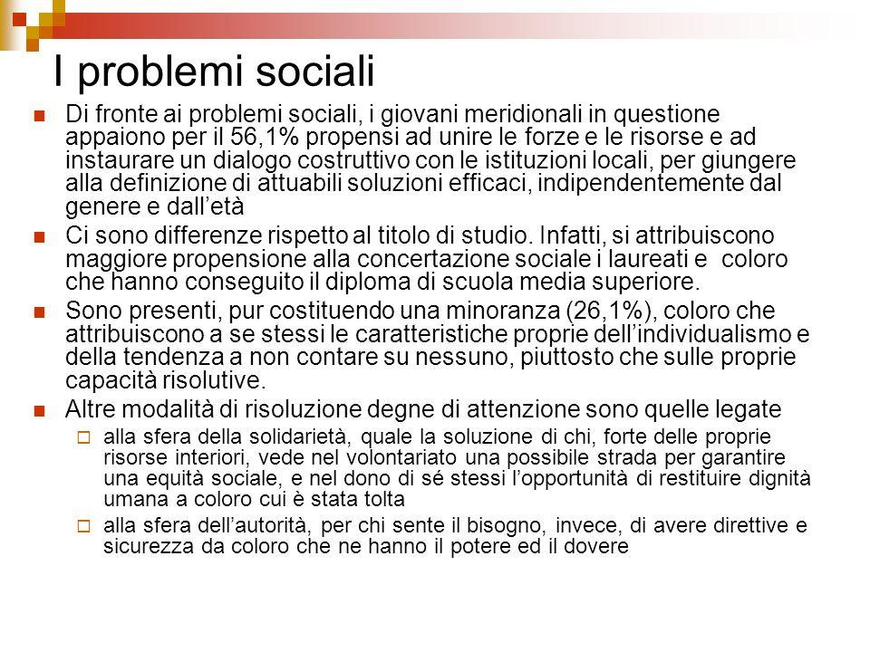 I problemi sociali Di fronte ai problemi sociali, i giovani meridionali in questione appaiono per il 56,1% propensi ad unire le forze e le risorse e a