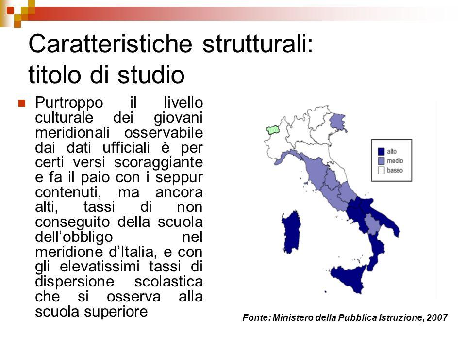 Caratteristiche strutturali: titolo di studio Purtroppo il livello culturale dei giovani meridionali osservabile dai dati ufficiali è per certi versi