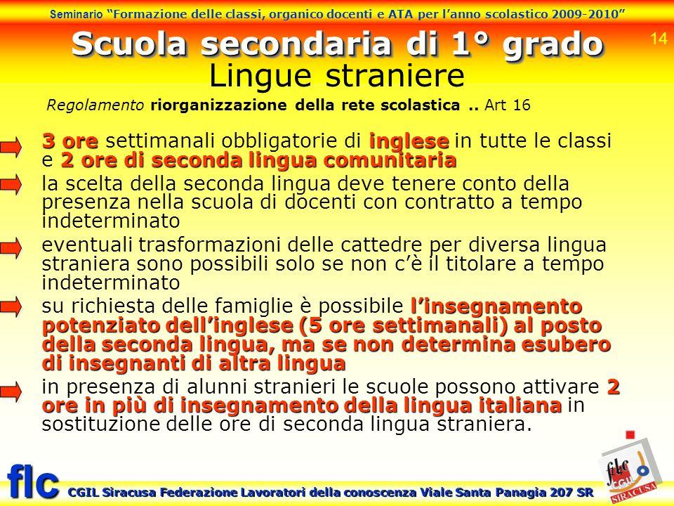14 Seminario Formazione delle classi, organico docenti e ATA per lanno scolastico 2009-2010 CGIL Siracusa Federazione Lavoratori della conoscenza Vial