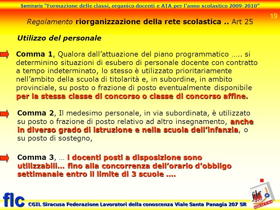 19 Seminario Formazione delle classi, organico docenti e ATA per lanno scolastico 2009-2010 CGIL Siracusa Federazione Lavoratori della conoscenza Vial