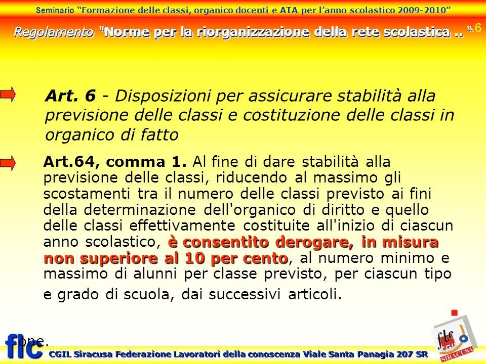6 Seminario Formazione delle classi, organico docenti e ATA per lanno scolastico 2009-2010 CGIL Siracusa Federazione Lavoratori della conoscenza Viale