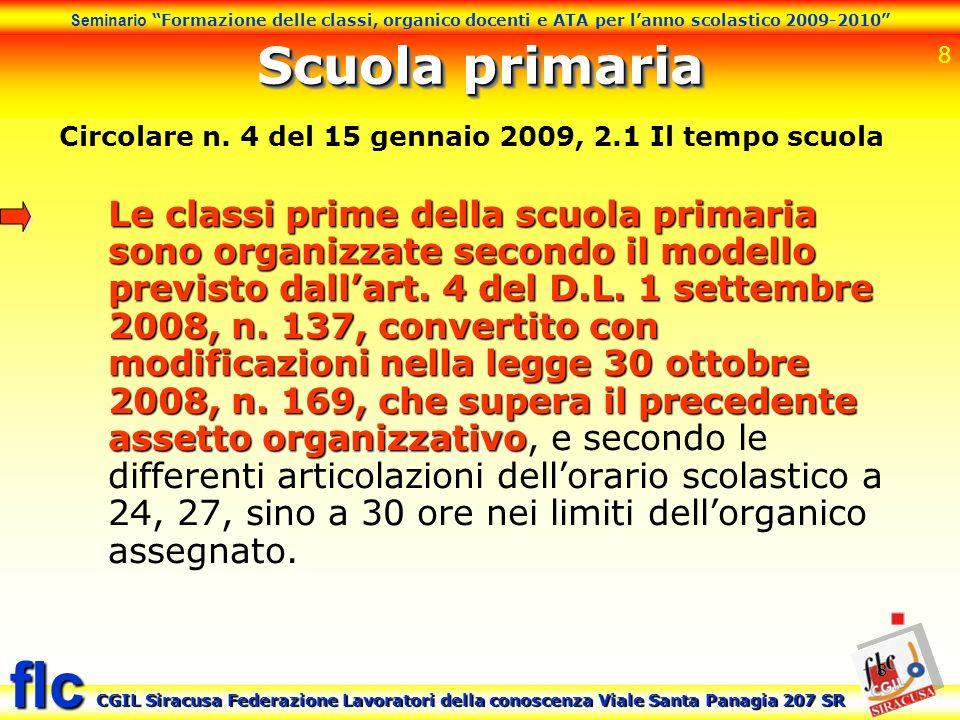 8 Seminario Formazione delle classi, organico docenti e ATA per lanno scolastico 2009-2010 CGIL Siracusa Federazione Lavoratori della conoscenza Viale