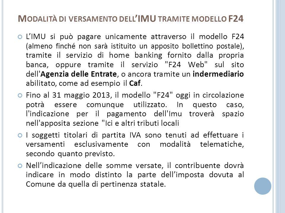 M ODALITÀ DI VERSAMENTO DELL IMU TRAMITE MODELLO F24 LIMU si può pagare unicamente attraverso il modello F24 (almeno finché non sarà istituito un appo