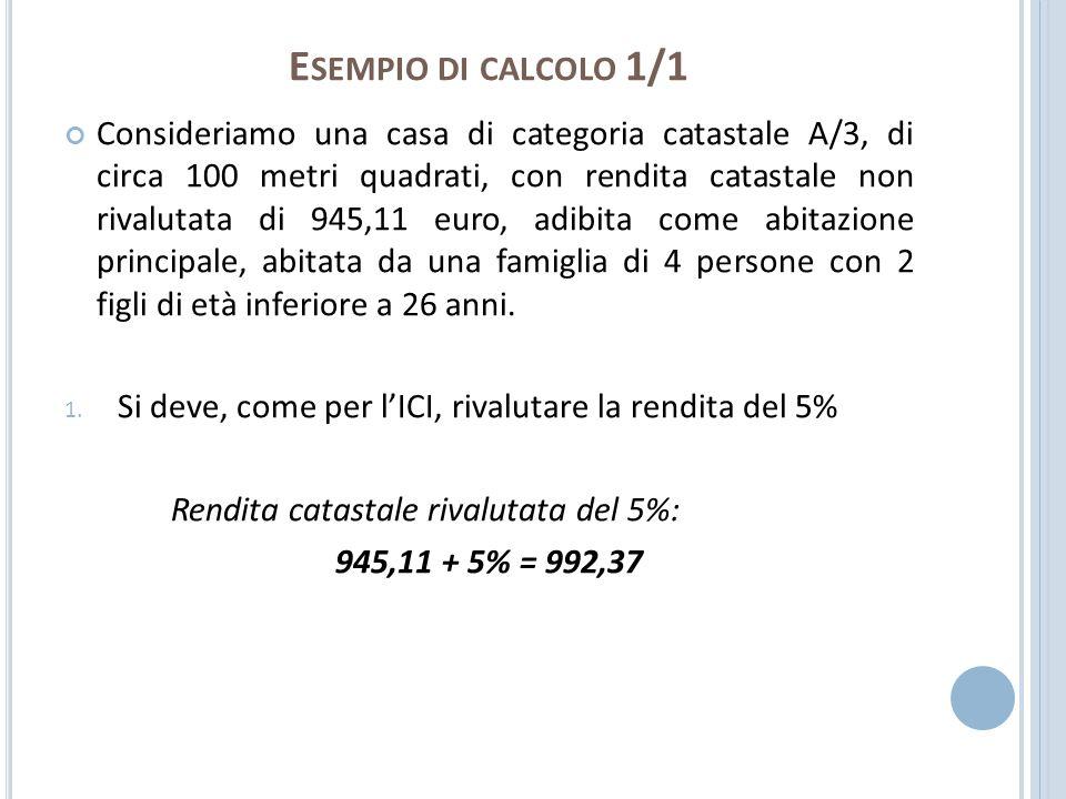 E SEMPIO DI CALCOLO 1/1 Consideriamo una casa di categoria catastale A/3, di circa 100 metri quadrati, con rendita catastale non rivalutata di 945,11