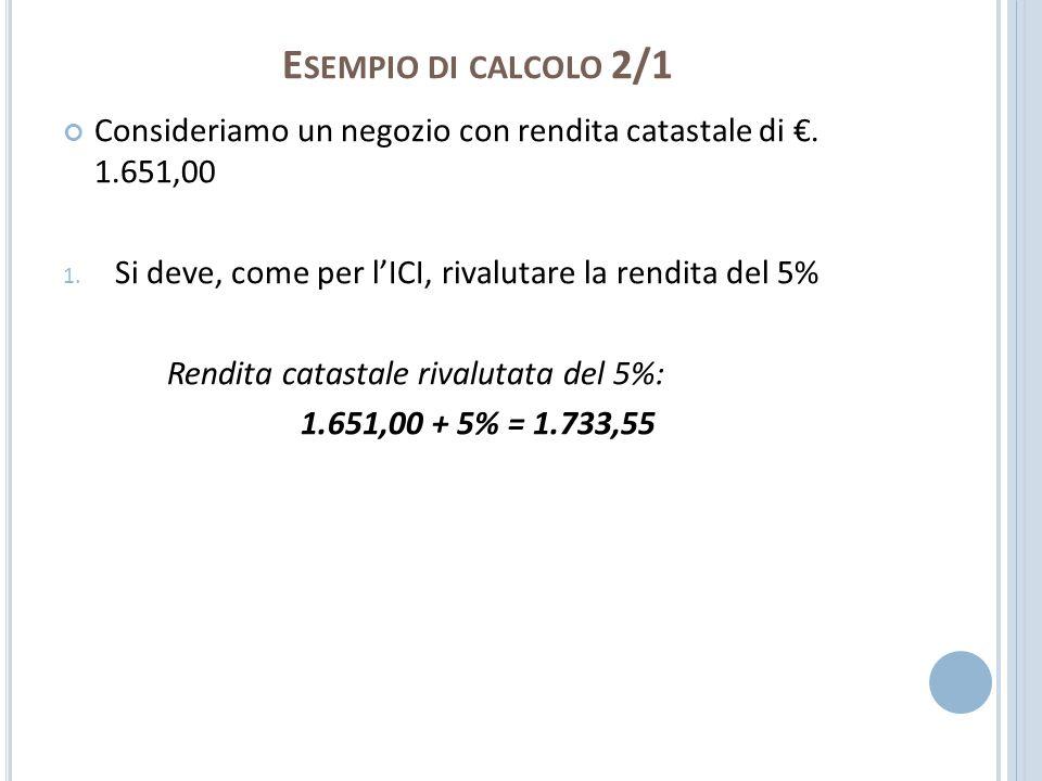 E SEMPIO DI CALCOLO 2/1 Consideriamo un negozio con rendita catastale di. 1.651,00 1. Si deve, come per lICI, rivalutare la rendita del 5% Rendita cat